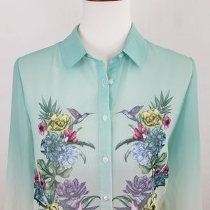 Divided Tops - ♥️Divided H&M Blouse Button Long Sleeve Teal White
